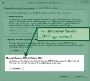 Reaktivieren des verschwundenen CRM Outlook plugin