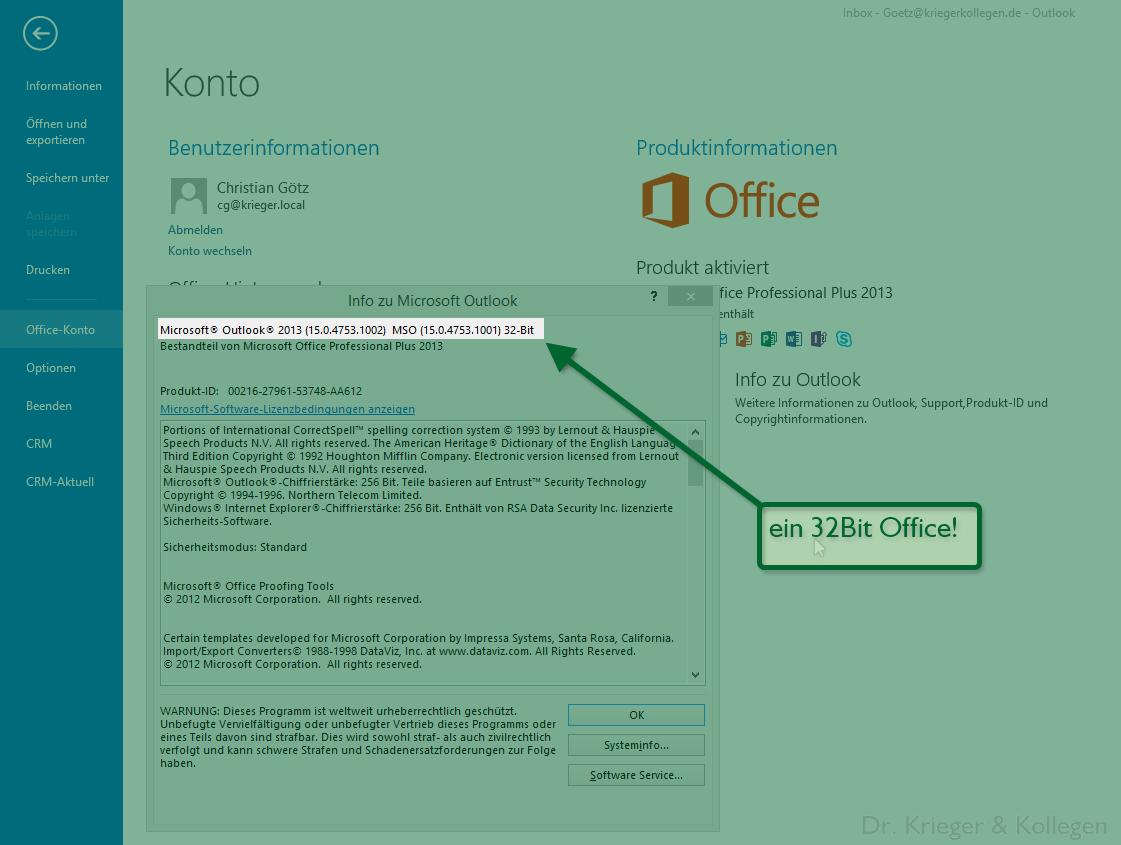 Office CPU Architektur anzeigen