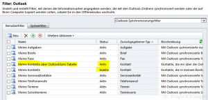 die neue Synchronisationsoptionen für Outlook Kontakt