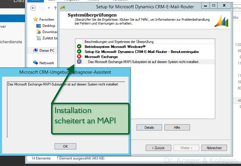 Router installation scheitert an MAPI